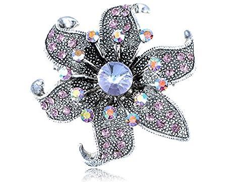 Alilang Antique Silver Tone Light Purple Rhinestones Floral Flower Brooch
