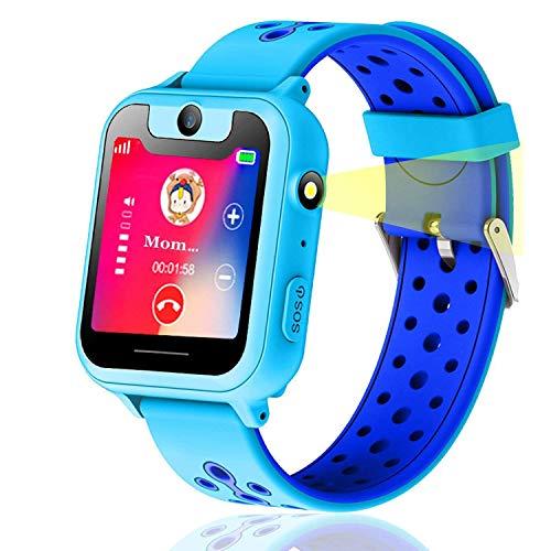 Vannico Reloj GPS Niño, Niños GPS Smartwatch, 1.44'GPS smartwatch niños, con función de Reloj Despertador con Linterna SOS de Juegos de cámara GPS para 3-14 años Smartwatch Childrens Gift (Blue)