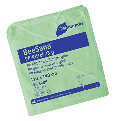 Meditrade 3685 Beesana Pp-Kittel mit Elastischen Gummibändern, 110 cm x 140 cm Größe, Grün (10-er pack)