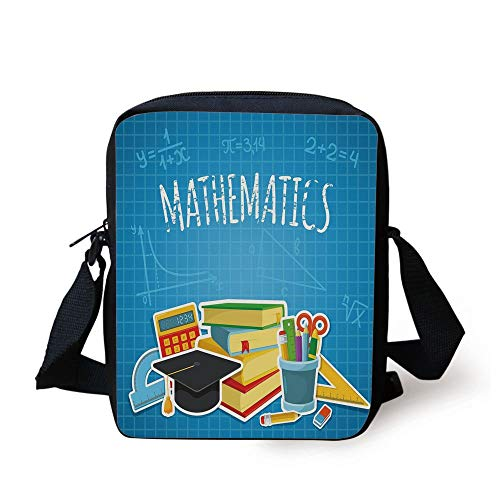 Mathematics Classroom Decor,Education Science Concept School College Supplies Set Books Cap Decorative,Multicolor Print Kids Crossbody Messenger Bag Purse