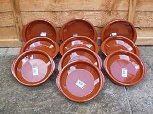 Espagnol plats à tapas en terre cuite/Coupelle–Lot de 10, 18cm de diamètre
