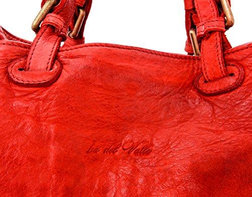 Ira del Valle, Borsa Donna, In Vera Pelle, Vintage, Borsa tracolla donna Modello Caraibica Bag, Made In Italy Rosso