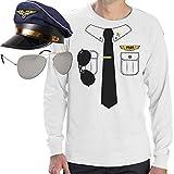 Pilot Pilotenkostüm Karneval - Set Langarm Pilotenshirt, Flug-Kapitänsmütze, Pilotenbrille Small Weiß