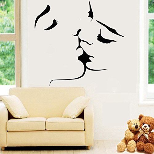 Couple kissing wall stickers 57 x 59cm removable vinyl wall decal multi styles decorative waterproof sticker