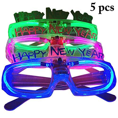 Zoylink 5 Paar Silvester Party Brille Leuchten Brille Kostüm Party Requisiten für Weihnachten