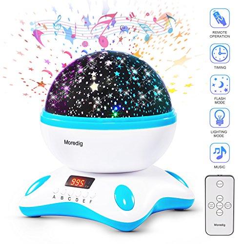 Foto de Moredig Modelo nuevo 360 grados proyector lámparas de estrellas de música con temporizador led pantalla, hay control remoto y puede rotación, romántica de la noche para bebés, niños, regalo de cumpleaños, día de los Reyes, Navidad, etc - Azul y blanco