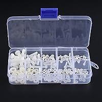 Paquete de 150 piezas M2 M2.5 M3 M4 M5 tuercas hexagonales de nylon kits de tuerca hexagonal de nylon para máquina sujetador de hardware, Color blanco