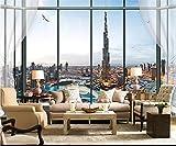 BZDHWWH Fototapete 3D Wallpaper Benutzerdefinierte Mural Wohnzimmer Fenster Stadt Dubai Tower Malerei Bild Sofa Tv Hintergrundbild,210 Cm×150 Cm