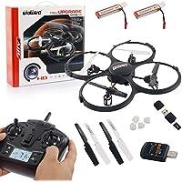 UDI U818A HD UPGRADE- RC UFO mit Akku und Camera - 3D Quadrocopter - Drohne 2,4Ghz - mit 4GB MicroSD Karte (Schwarz mit 2 Akkus)