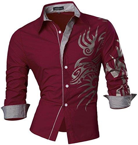 jeansian Herren Freizeit Hemden Shirt Tops Mode Langarmshirts Slim Fit Z001 Red