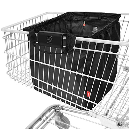 achilles, Easy-Shopper, jetzt neu mit Combi Clip für alle gängigen Einkaufswagen, AD101bl, faltbare Einkaufswagentasche, schwarz, 33 x 39 x 54 cm