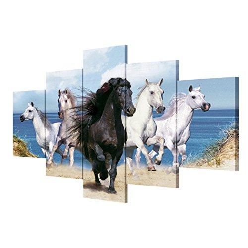 GY&H Tier Wandmalerei 5 Stück Pferdebild rahmenlos Drucke auf leinwand, die bilder öl für home...