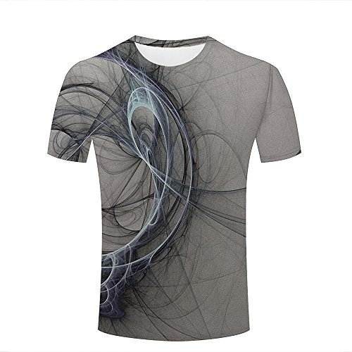 Eurapping Herren Fashion T Shirt 3D Print Fiber Circle Abstract Messy Unisex Couple Short Sleeve Tees Top XXL (Short Circle Sleeve Tee)