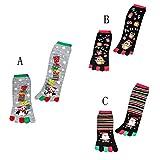 VRTUR Weihnachten Unisek Drucken Mehrfarbig Zehe Socks Fünf Finger Socken Baumwolle Komisch Socken