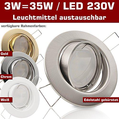 SONDERAKTION Decken Einbaustrahler DECORA; 230V GU10; 1er Set inkl. SMD LED 3,0W = 35W (Warmweiss); 250 Lumen; schwenkbar; GOLD MESSING; Einbauspot Spot Einbauleuchten; Leuchtmittel austauschbar