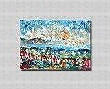 Originale pittura tele materica spatola colori paesaggio arredamento moderno contemporaneo realista impressionista astratto puliafico - TINDARI E FIORI 50x70cm