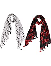 Raiter Printed Poly Cotton Women's Scarf, Stole (pack of 2)
