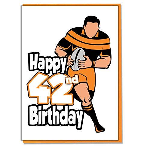 Rugby Silhouette 42nd Birthday-Herren-Sohn, Enkel-Freund-Mann-Brother-Mate -
