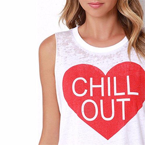 Femmes Blanc Lettre Imprime Manches Moulante Slim Top Blouse T-Shirt Xs-Xxl Blanc