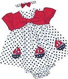 BabyPrem Babykleidung Kleidchen Kopfband & Höschen Set Schiff 68-74cm Rosa