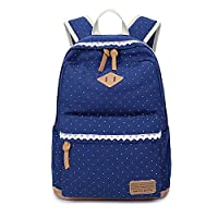 Teenage Girls Canvas School Bag, Causal Light Weight Polka Dot Backpack, Fashion Lace Racksack for 14 inch Laptop, Essential when Back to School (Deep Blue)