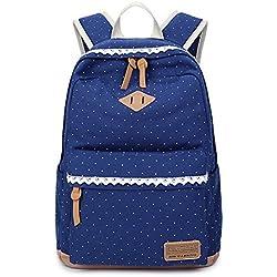 Backpack Mochilas Escolares, Marsoul Mujer Mochila Escolar Lona Grande Bolsa Estilo Étnico Vendimia Casual Colegio Bolso Para Chicas (Encaje azul)