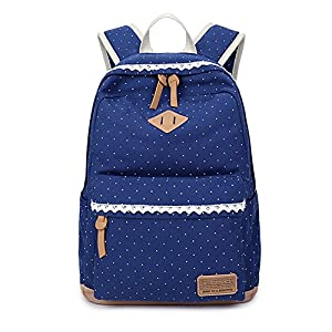 Marsoul Spitze-ethnischer schicker Rucksack damen rucksack im rucksack , Weinlese-stilvolle Damen-Beutel-Rucksack-weiblicher punktierter Druck für Schuljugendliche Mädchen (Blau)