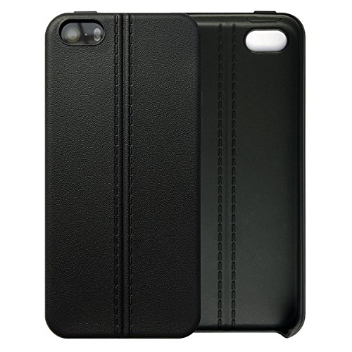 iPhone SE 5SE 5 5S Case Tasche HandyHülle Ultra-dünne Leder-Muster Slim Silikon Case Leicht TPU Ultra Thin Soft Stoßfest Shockproof Staubdicht Schutzhülle Covers Sleeve Leder für iPhone SE 5SE 5 5S Schwarz