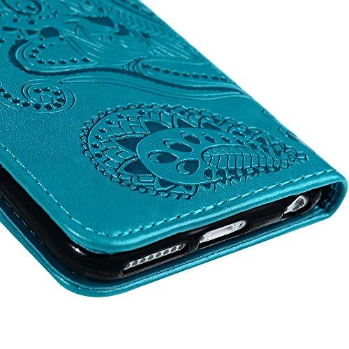 """YOKIRIN Wallet Case für iPhone 6 Plus/6S Plus (5.5"""") Prägung Blumen PU Leder Flipcase Schutzhülle Case Buch Ledercover Handyhülle Taschen Brieftasche Skin Schale mit Kreditkarteninhaber Kippständer Ma Blau"""