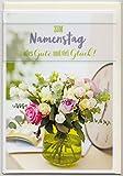 Glückwunschkarte zum Namenstag Blumen pastell Alles Gute und viel Glück