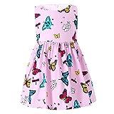 ZHUANNIAN Kleider Mädchen Festlich Sommer Prinzessin Schmetterling Party Kleid für Kinder Baby(98 Rosa)