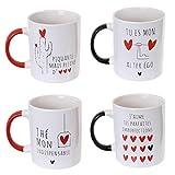 WEB2O Set Lot Ensemble 4 Tasses Mug Café Collection Love Amour Saint Valentin
