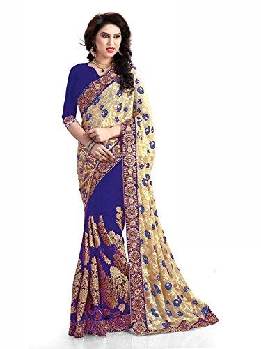 Nivah Fashion Women's Brasso & Net Half & Half Embroidery Diamond's Saree...