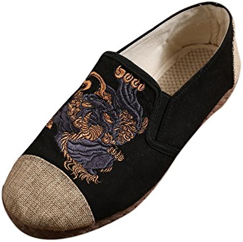 keephen Zapatos Bordados Kirin de Los Hombres, Zapatos de Paño Ocasionales Étnicos del Estilo del Viento  -