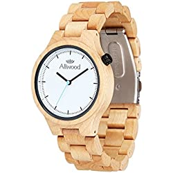 (Wooden Gift Box Packaging) Aliwood Handmade Round White Maple Wooden Wristwatch, Natural Maple Wood Wrist Watch Japanese Quartz Movement Watch with Wooden Watch Band Bracelet Strap