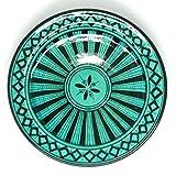 Marokkanischer Teller Türkis 24cm | bunte marokkanische Keramik Teller bunt aus Marokko | Große Keramikschalen flach Geschirr aus dem Orient handbemalt