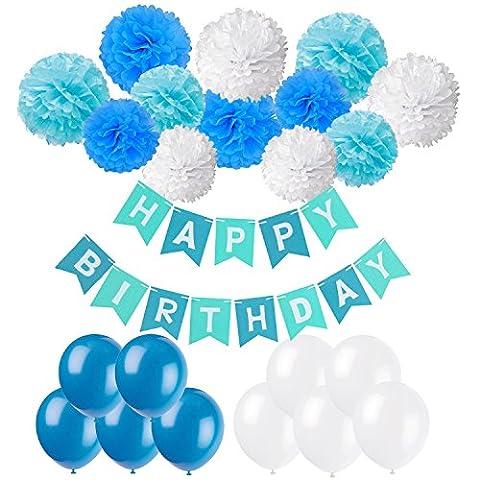 Geburtstag Party Dekoration, Recosis Happy Birthday Wimpelkette Banner Girlande mit Seidenpapier Pompoms und Luftballons für Mädchen und Jungen Jeden Alters - Blau, Hellblau und