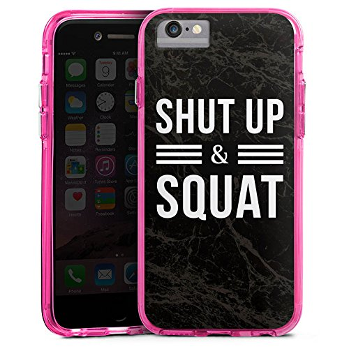 Apple iPhone 7 Bumper Hülle Bumper Case Glitzer Hülle Squat Fitness Statements Bumper Case transparent pink