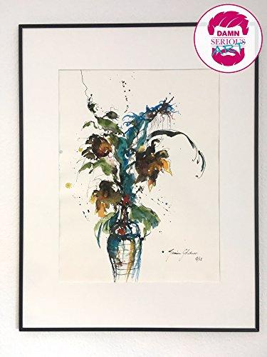 damnseriousART- Blumenleben No1 - ORIGINAL Kunstwerk / 65 x 50 cm Blattmaß / Malerei/ Aquarell / Abstrakt / Moderne Kunst / Bild / ohne Rahmen -