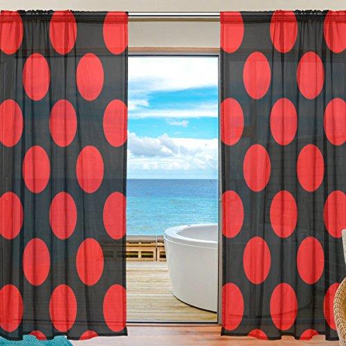BENNIGIRY - Cortinas con lunares rojos y negros de tul, cortinas de gasa de poliéster para decoración del dormitorio, sala de estar, hogar, 55 x 78 pulgadas por paneles, juego de 2 paneles, 100% poliéster, Multicolor, 55x78x2(in)