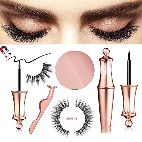 Magnetic eyeliner wimpern,Neue Magnetic Eyeliner Magnetic Eyelashes Kit Wasserdichter,Langlebiger Eyeliner mit 5-Magneten Magnetische Falschen Wimpern Wiederverwendbare Natürlicher Look (AD811)