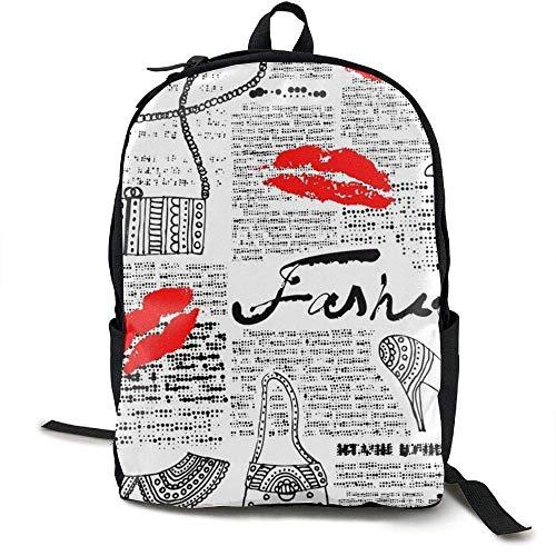HOJJP Schultasche Women's Lip Print High Heels School Backpack Girls Teens Bookbag Cute School Bag Set Water Resistant Travel ypack - Mini Womens Heels