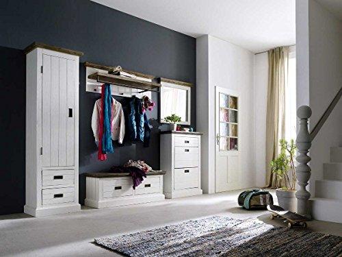 lifestyle4living Garderobe, Garderobenschrank, Garderoben-Set, Flurgarderobe, Garderobenmöbel, Dielenmöbel, Flurmöbel, massiv, Echtholz, massiver Akazie strukturweiß