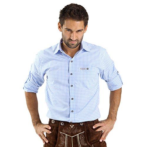 ALMBOCK Trachtenhemd Herren kariert | Slim-fit Männer Hemd hellblau kariert | Karo Hemd aus 100% Baumwolle in den Größen S-XXXL