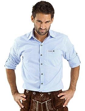 Almbock Trachtenhemd Herren Kariert | Slim-Fit Männer Hemd in Vielen Karo Farben | Hemd Aus 100% Baumwolle in...