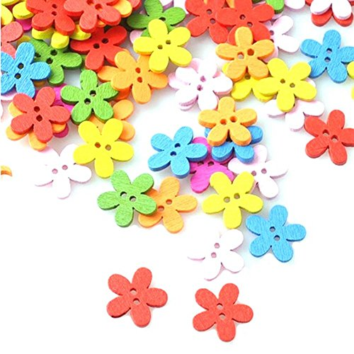 Dimart 100Pcs Blossom Buttons With Different Color For Sewing Fasteners Scrapbooking