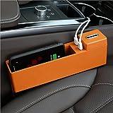 LSQR Auto Drahtlose Lade Aufbewahrungsbox Multifunktionale Auto Slot Aufbewahrungsbox Autositz Klemmkasten 4 Farben,Orange