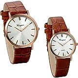 JewelryWe 2pcs Herren Damen Armbanduhr, Klassiker Analog Quarz Uhr mit Echtleder Uhrenarmband, Lieben Valentinstag Geschenk, Braun