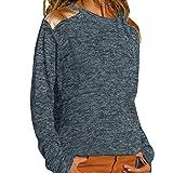 WWricotta Womens Fashion Long Sleeve O-Neck T-Shirt Casual Tops(Blau,XL)