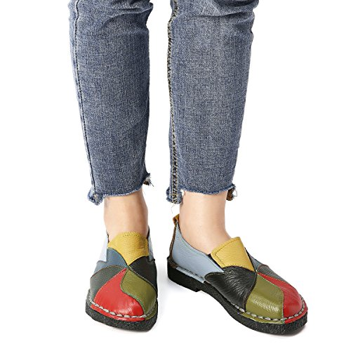 cfaf689ca7 Socofy Mocassini da Donna, Mocassini in Pelle Donne Loafers Comode Slip On Scarpe  Casual Shoes